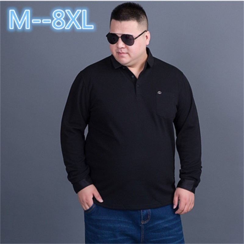 ab1b3b39 10XL 8XL 6XL 5XL Tops&Tees Solid color Men Polo 3D Embroidery Poloshirt  Casual Polo Shirts winter men's Long sleeve polo shirt