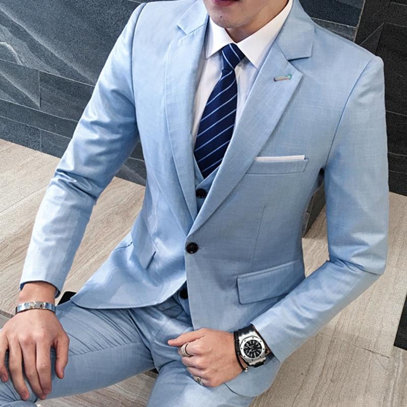 3piece Mens Suits 2018 New Solid Slim Fit Men Casual Dress Suits Hot Sale Long Sleeve Plus Size Business Formal Wear Blazer Set