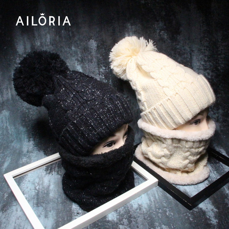 AILORIA pom poms winter hat for women girl 's wool hat with scarf velvet knitted cotton beanies cap brand new thick female cap the new children s cubs hat qiu dong with cartoon animals knitting wool cap and pile