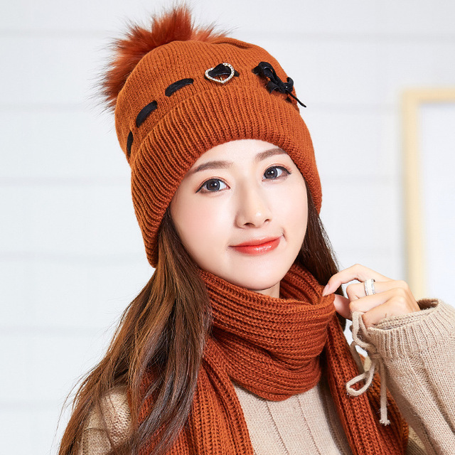 637a20b8b71c2 woman winter plus velvet thickening warm cover ear knitting hat scarf sets  wool rabbit cap collar two pc girls wear beanies