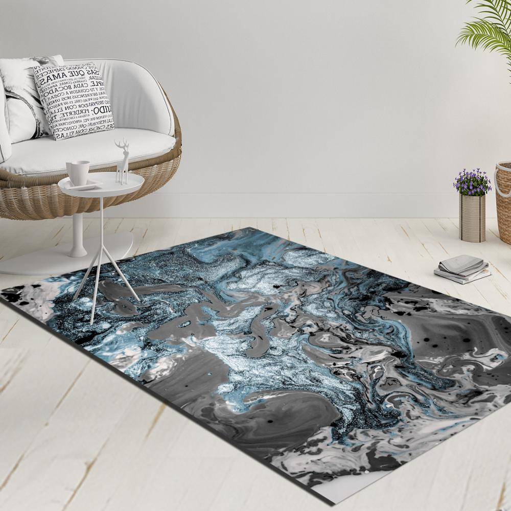 Else Blue White Gray Abstract Watercolor Decorative 3d Print Anti Slip Kilim Washable Decorative Kilim Rug Modern Carpet