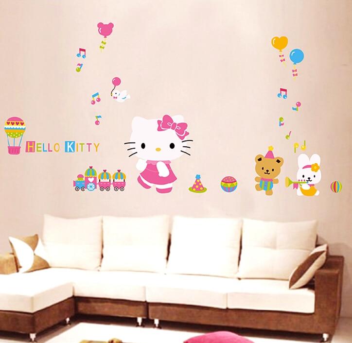 Hello Kitty Home Decor: Cartoon Hello Kitty KT Cat Girl Gift Wall Sticker Stickers