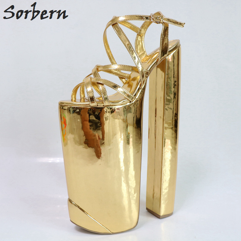 Sorbern Gold Shiny Women Sandals Extreme Chunky Heeled Thick Platform Summer Shoes Show Display Sandals Slingbacks DIY Heels