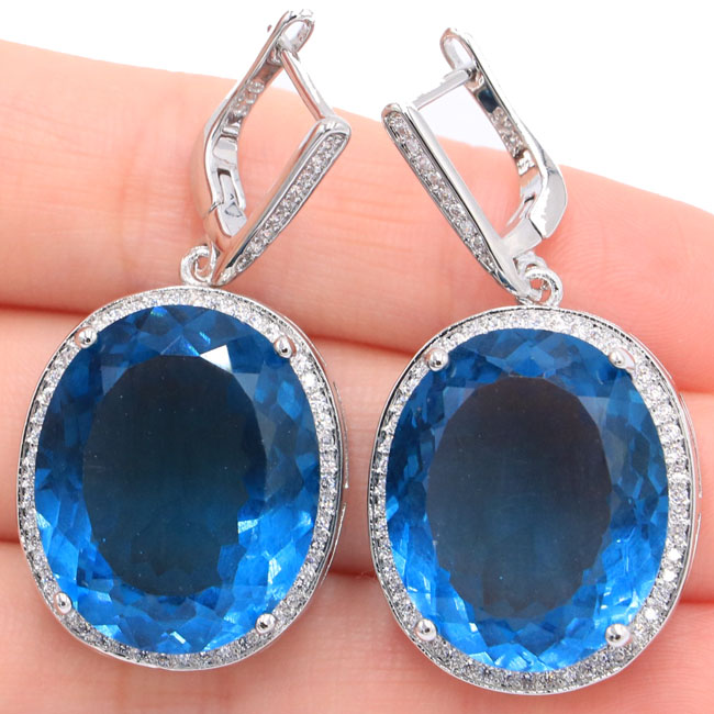 Big Oval Gemstone 22x18mm London Blue Topaz, White CZ Womans Silver Earrings 40x20mmBig Oval Gemstone 22x18mm London Blue Topaz, White CZ Womans Silver Earrings 40x20mm