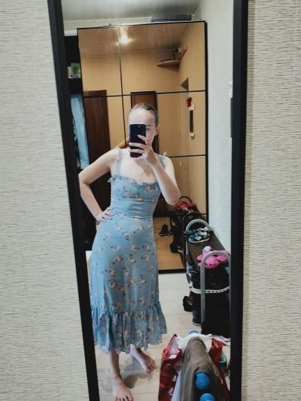 Summer Dress Women Prairie Chic Floral Print Dress Lady Sexy Sleeveless Ruffle  A Line Sling Long Dress photo review