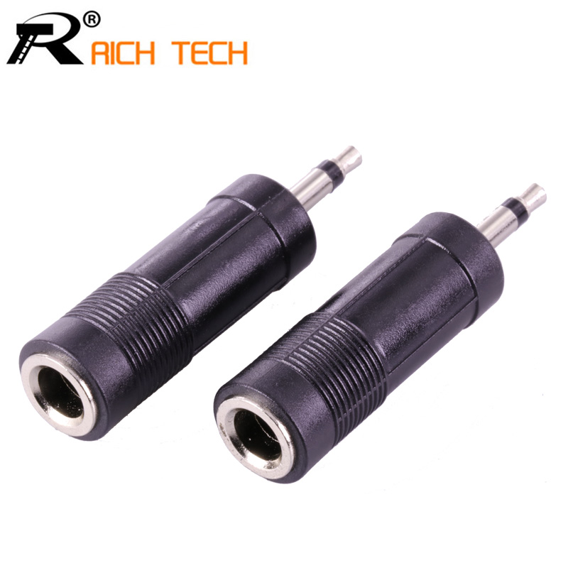 3Pcs RICH TECH Jack 6.3 to Plug 3.5 Adapter Nickle Speaker Plug 3.5mm MONO Plug High quality Plastic Audio Connector wsfs hot 10 pcs black plastic housing 3 5mm audio jack plug headphone connector