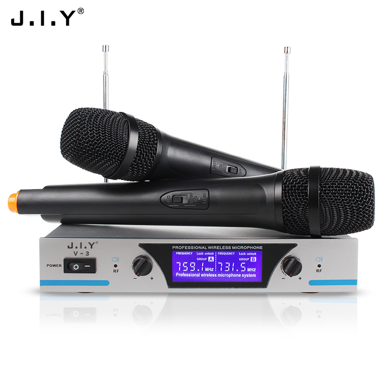 JIY Professional MIC Dual karaoke Wireless Microphone mixer audio radio handheld Microphones for speaker karaoke computer home boya by whm8 professional 48 uhf microphone dual channels wireless handheld mic system lcd display for karaoke party liveshow