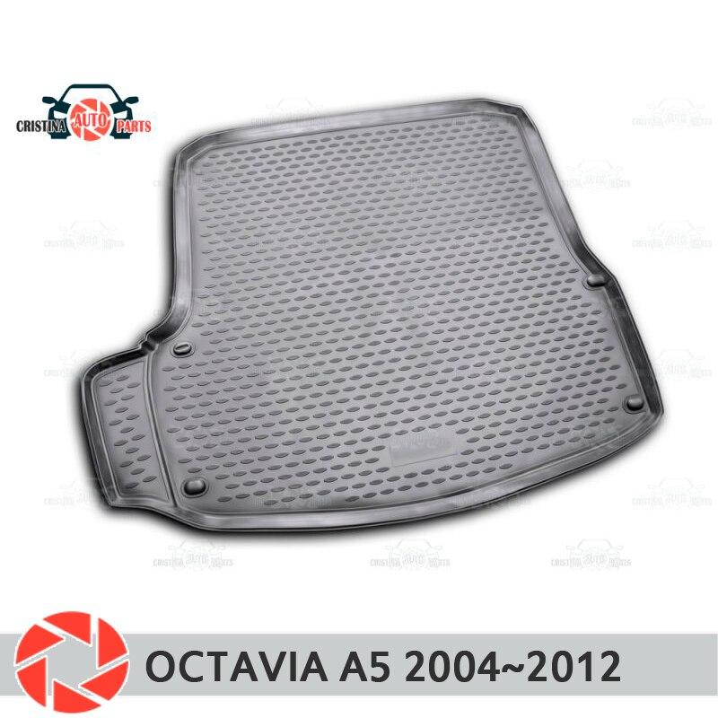Mat tronco para Skoda Octavia A5 2004 ~ 2012 maletero alfombras de piso antideslizante poliuretano tierra Protección interior del maletero de coche estilo