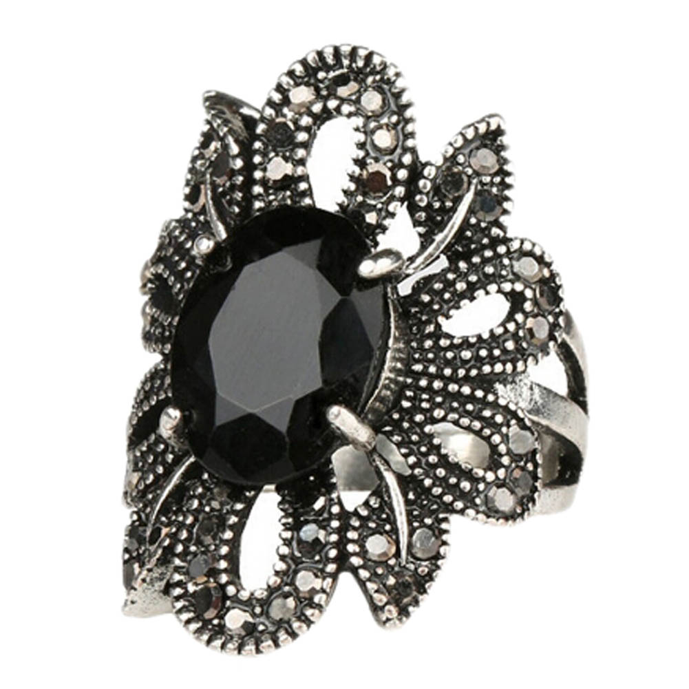 1 Piece!!! Black Flower Ring Natural Blue Stone Gems Silver Color Rings Fine Jewelry