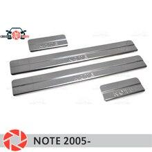 Дверные пороги для Nissan Note 2005-шаг пластины внутренняя отделка Аксессуары защита потертостей автомобиля Стайлинг украшения