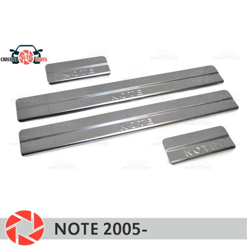 Soleiras da porta para nissan note 2005-step placa interior guarnição acessórios proteção scuff estilo do carro decoração