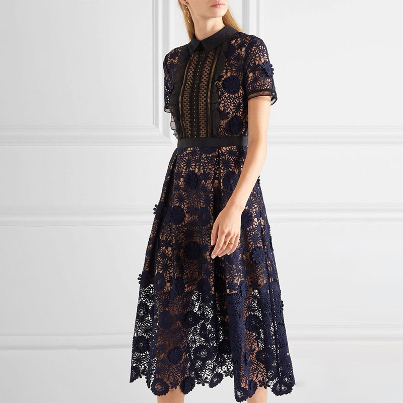 High Quality Self Portrait Dress Runway 2018 Summer Women Short Sleeve Flowers Lace Party Embroidery Dress