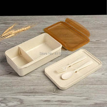20pcs Wheat Straw Lunch Boxs Containers With Compartments Spoon Fork Bento Box For Kids Picnic Food Container(China)