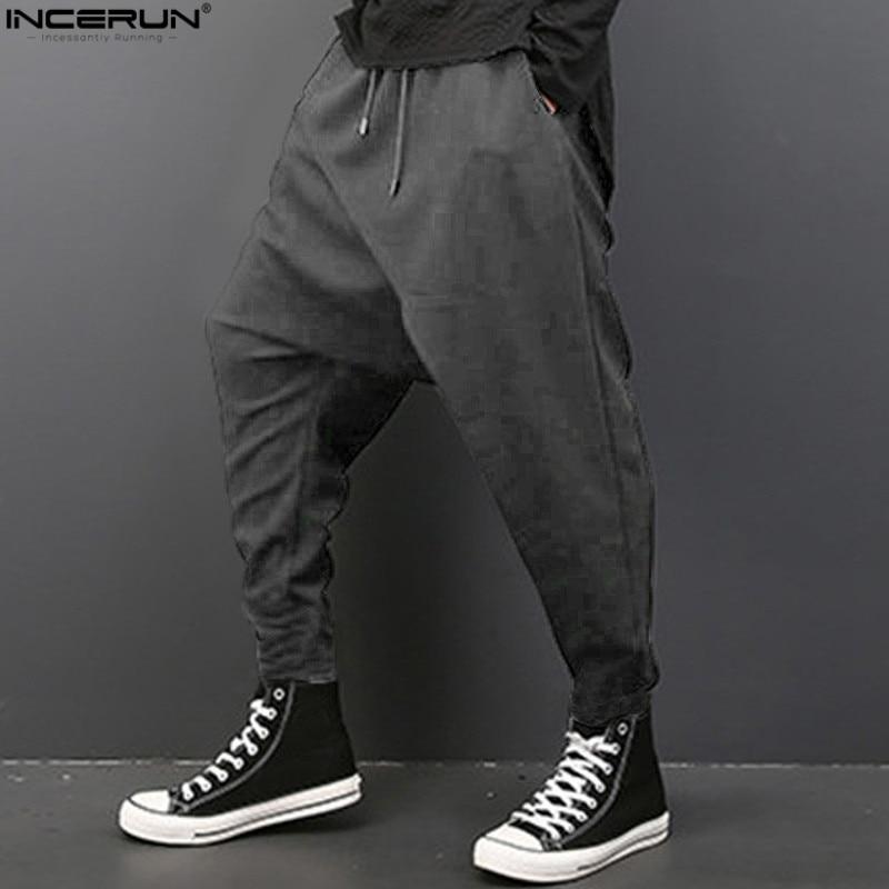 INCERUN Men's Hip Hip Dancer Sagging Pants Pantalon Homme Loose Harem Pants Men Fashion Baggy Pants Men Crotch Trousers Size 3XL