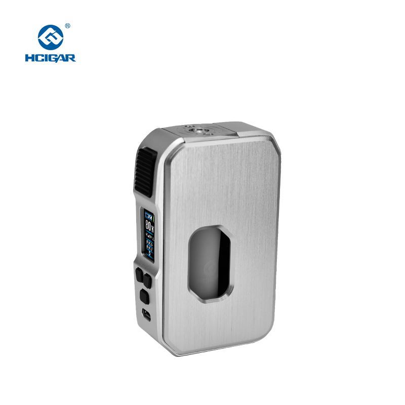 Hcigar Aurora 80w Drag Tc Mod Stainless Steal Squonk Mod Bottle 21700/20700/18650 Battery With 0.96 ' TFT Color Screen Vape Mod