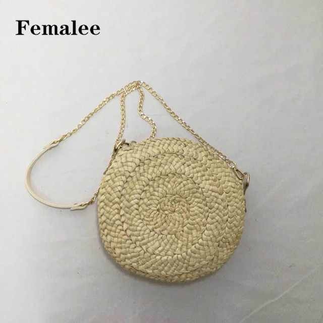 590d773578 FEMALEE Bali Mini Round Straw Bag Summer Beach Vintage Crossbody Chain Bags  Japan Korea Rattan Basket Small Tote Circle Handbags