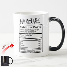 Novelty Funny Wedding Gifts Geek Marriage Nutritional Facts Coffee Mugs Tea Cups for Happy Couple Love Trust Respect Unique Gift