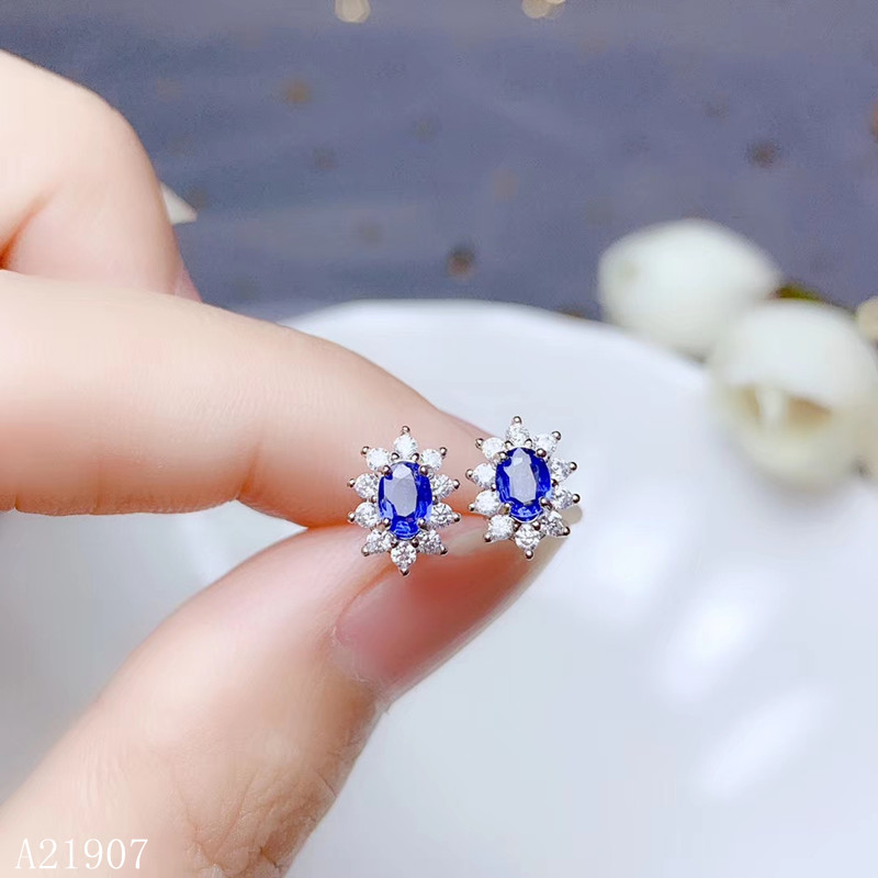 KJJEAXCMY fine jewelry 925 sterling silver inlaid natural sapphire female earrings support detection new