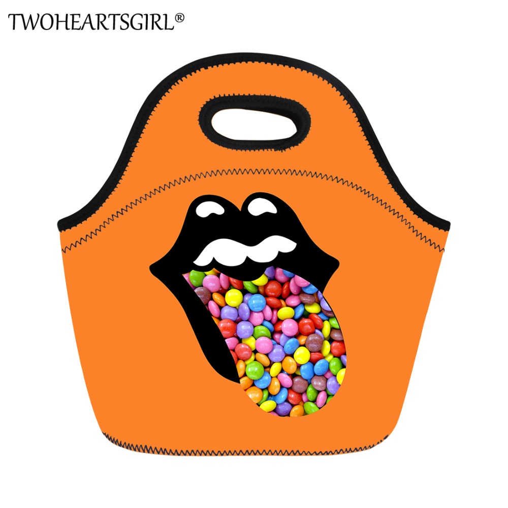 TWOHEARTSGIRL Funny Candy Prints Lunch Bag for Women Soft Storage Food Handbags Kids Thermal Insulated Portable Picnic Tote Bags