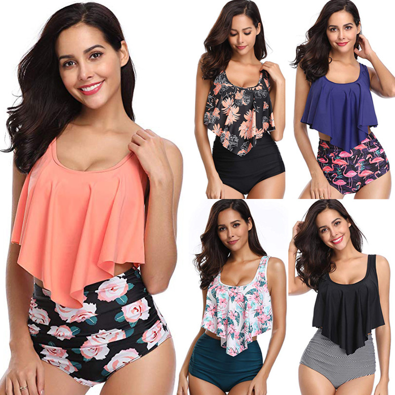 Women Swimsuits 2019 Bikini Set Print Swimwear For Women Sexy Ruffle Swimming Suits Beach Two Pieces High Waist Bathing Suits