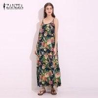 ZANZEA Vintage Floral Print Womens Spaghetti Strap Cotton Maxi Long Dress Sexy Summer Chinese Style Beach