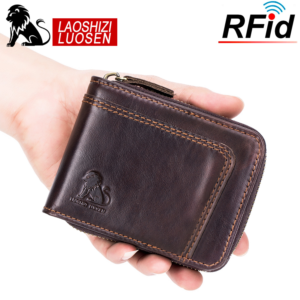 LAOSHIZI LUOSEN Genuine Cowhide Leather Men Wallets RFID Short Purse Male Dollar Carteira Masculina Card Holder 91603 title=