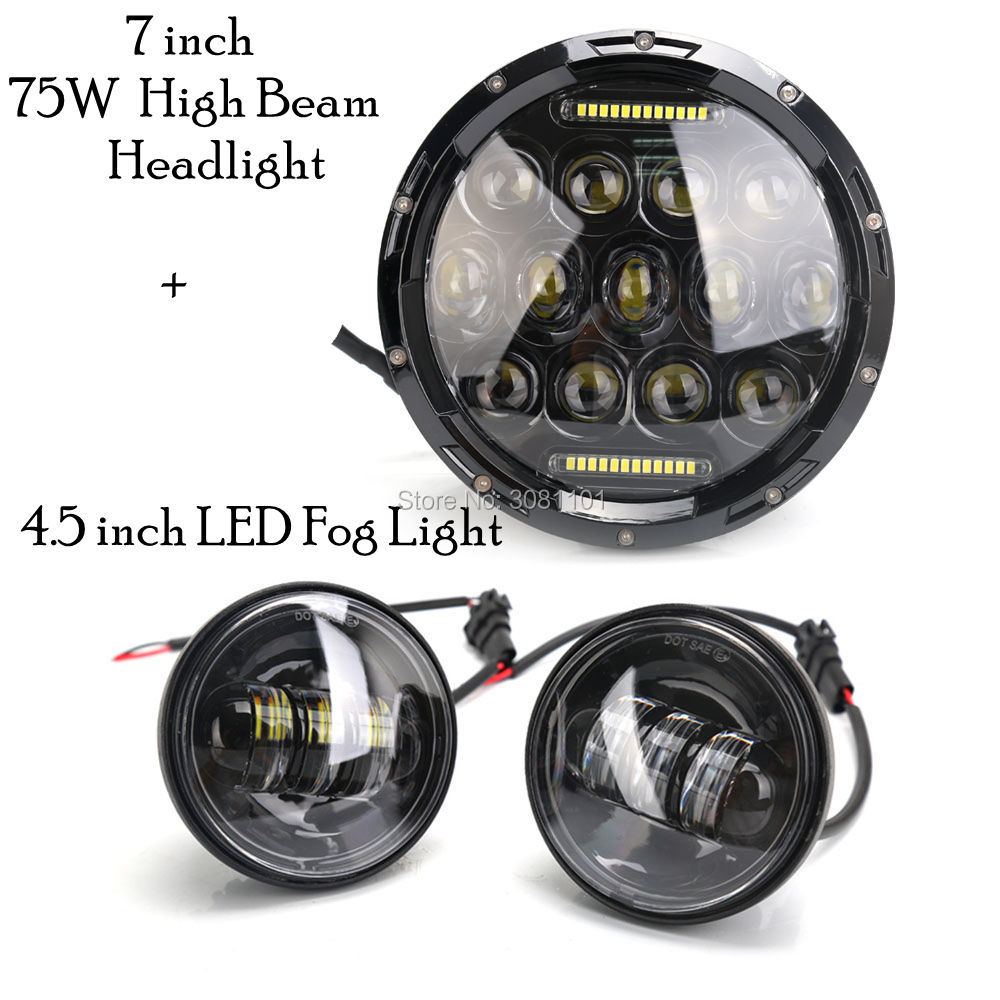 75W Projector LED Headlight+4.5 inch Fog lamp for 1952-1954 Harley-Davidson Hydra Glide/1956-1957 Harley-Davidson Hydra Glide