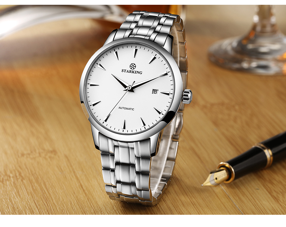 UTB8W84pNhHEXKJk43Jeq6yeeXXa5 STARKING Mens Clock Automatic Mechanical Watch All Stainless Steel Simple Business Male Watch xfcs Luxury Brand Dress WristWatch