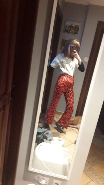 Women Flare Pants Leopard Flared Trousers High Waist Red Pants Full Length Sexy Streetwear Women Skinny Trousers photo review