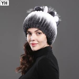 4db011af8d6 YH Women s Rex Rabbit Fur Hats Winter Beanies Fox Fur Caps