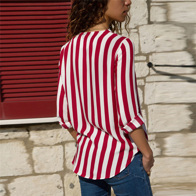 Women Striped Blouse Shirt Long Sleeve Blouse V-neck Shirts Casual Tops Blouse 39