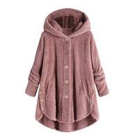 Women Winter Warm Loose Hooded Coat Faux Fur Button Pockets Jacket Long Sleeve Ladies Casual Tops