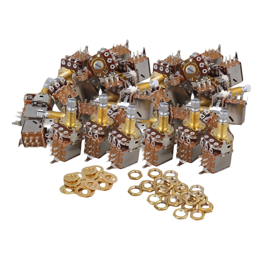 Yibuy A250k Push Pull Pot 18mm Gold Plated Shaft Control Knobs Set of 60 Yibuy A250k Push Pull Pot 18mm Gold Plated Shaft Control Knobs Set of 60