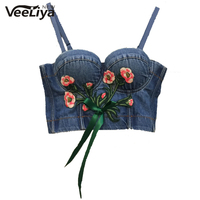 P286 New Flower Embroidery Tie Up Tops Bustier Push Up Night Club Bralette Women S Bra
