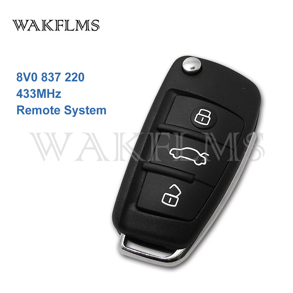 3 Button Remote Car Key 433MHz Fob for Audi A3 S3 2012 2015 with Megamos AES