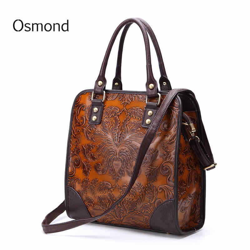 7a6f340bd Osmond New Women Handbags Embossed Process Fashion Briefcase Messenger Bags  Genuine Leather Crossbody Bag Ladies Totes
