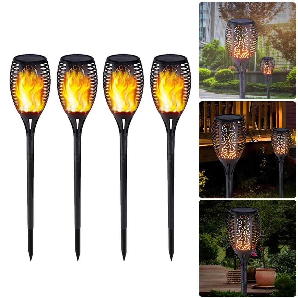 33/51/96LED Solar Flame Light Flickering Lamp Outdoor Waterproof Garden Courtyard Lawn Torch Lamp Path Lighting Torch Light