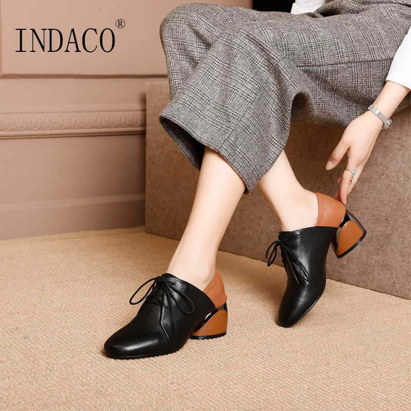 Women Autumn Winter Brogue Shoes Black Women Dress Shoes Thick High Heel Boots 5 5cm