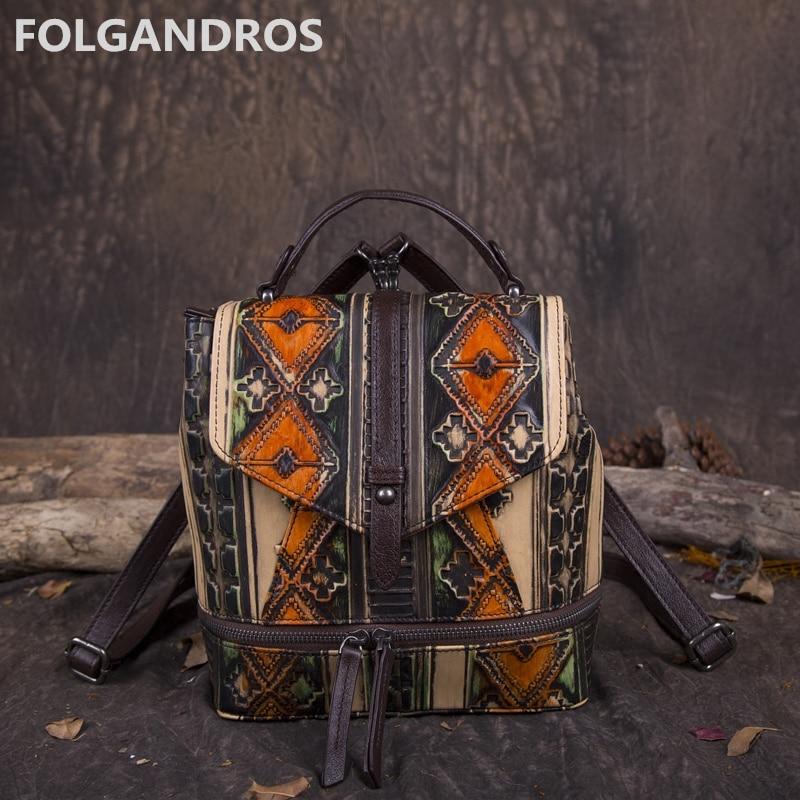 2018 New Women Backpack Genuine Leather Handmade Panelled Knapsack Designer Vintage National Daypack Brand Classic Shoulder Bags