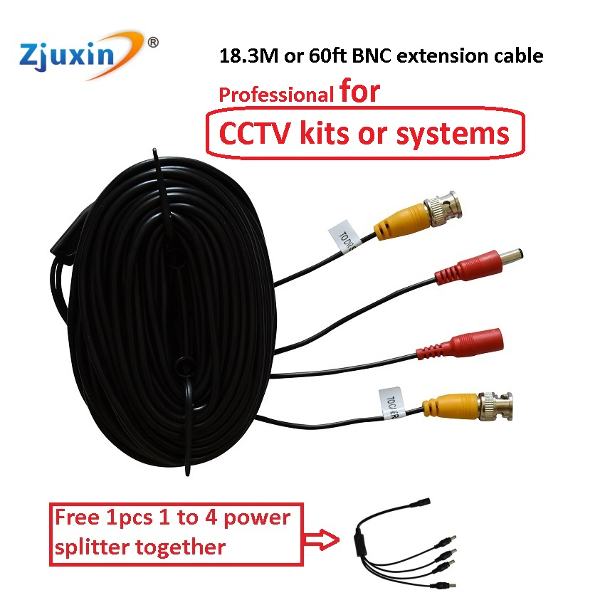 Zjuxin 18.3 Meters BNC Video wire for CCTV Surveillance system or 60ft professional BNC EXTENSION cable for 4ch or 8ch DVR kits