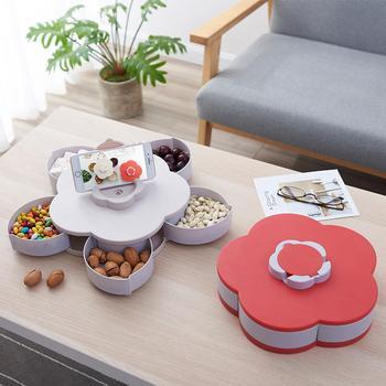 Caja de almacenamiento en forma de flor, recipiente de plástico para alimentos y dulces, caja giratoria con cinco compartimentos divididos para aperitivos, contenedor para alimentos
