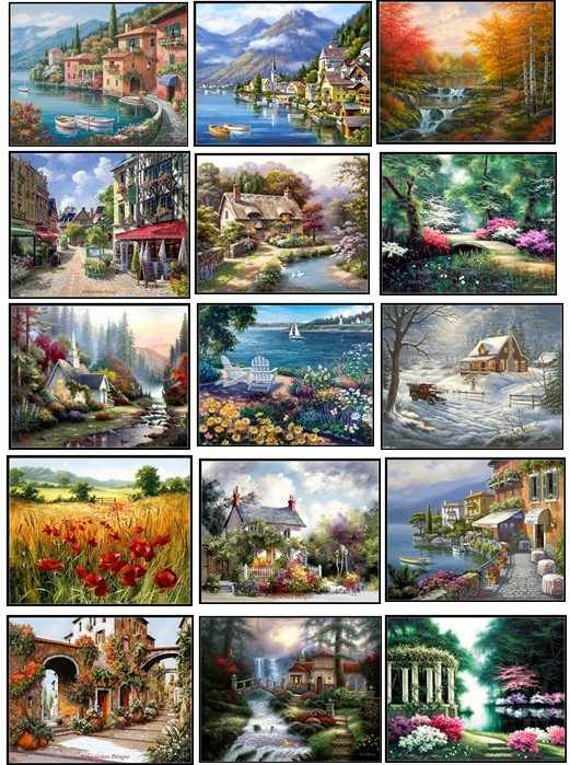 Embroidery Counted Cross Stitch Kits Needlework - Crafts 14 ct DMC Color DIY Arts Handmade Decor - Landscape 228wx182h