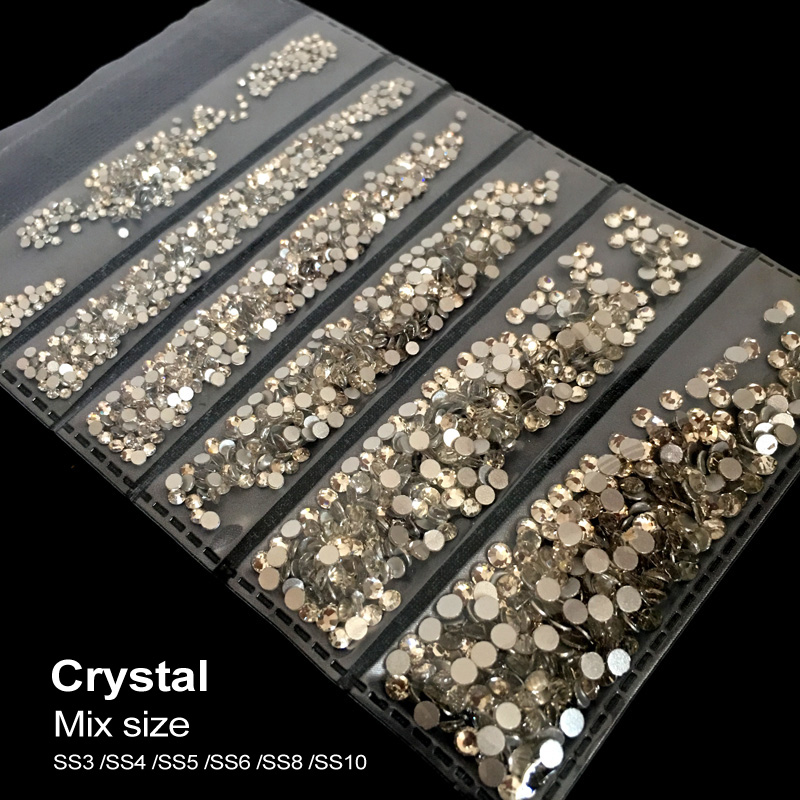 Mixed Sizes Crystal Non Hotfix Rhinestones Nail Art Decoration Gems