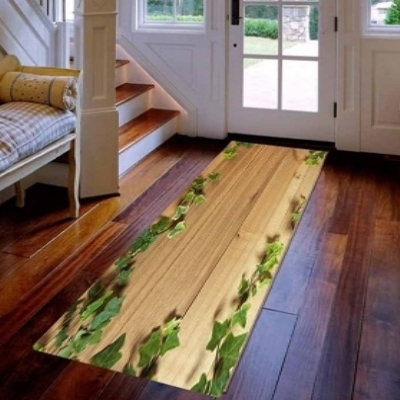 Else Brown Wood Green Ivy Leaves Floral 3d Print Non Slip Microfiber Washable Long Runner Mats Floor Mat Rugs Hallway Carpets