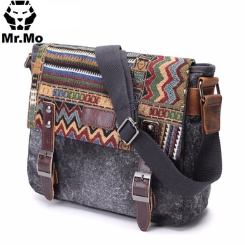 Vintage Ethnic Canvas Messenger Bag Women Chinese Style Shoulder Bag Female Casual Embroidery Crossbody Bag 1