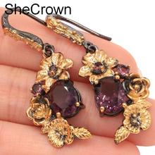 Sublime Antique Vintage Style Created Purple Amehtyst Flower Gift For Sister Black Gold Silver Earrings 42x16mm