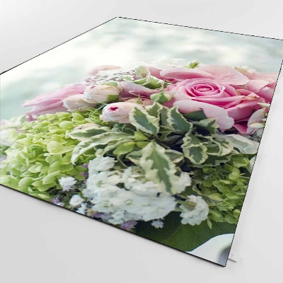 Else Green Leaves Pink White Roses Flowers 3d Print Non Slip Microfiber Living Room Decorative Modern Washable Area Rug Mat