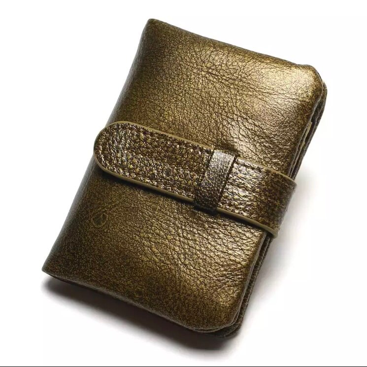 100% Luxury Vintage Casual Real Genuine Cowhide Oil Wax Leather Lady Gloden Color Women Wallets Purse Coin Pocket Female Zipper photo review