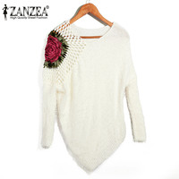 ZANZEA Retro Embroidery Women Sweaters Sexy V Neck Batwing Sleeve Autumn Pullover Knitted Casual Irregular Hem