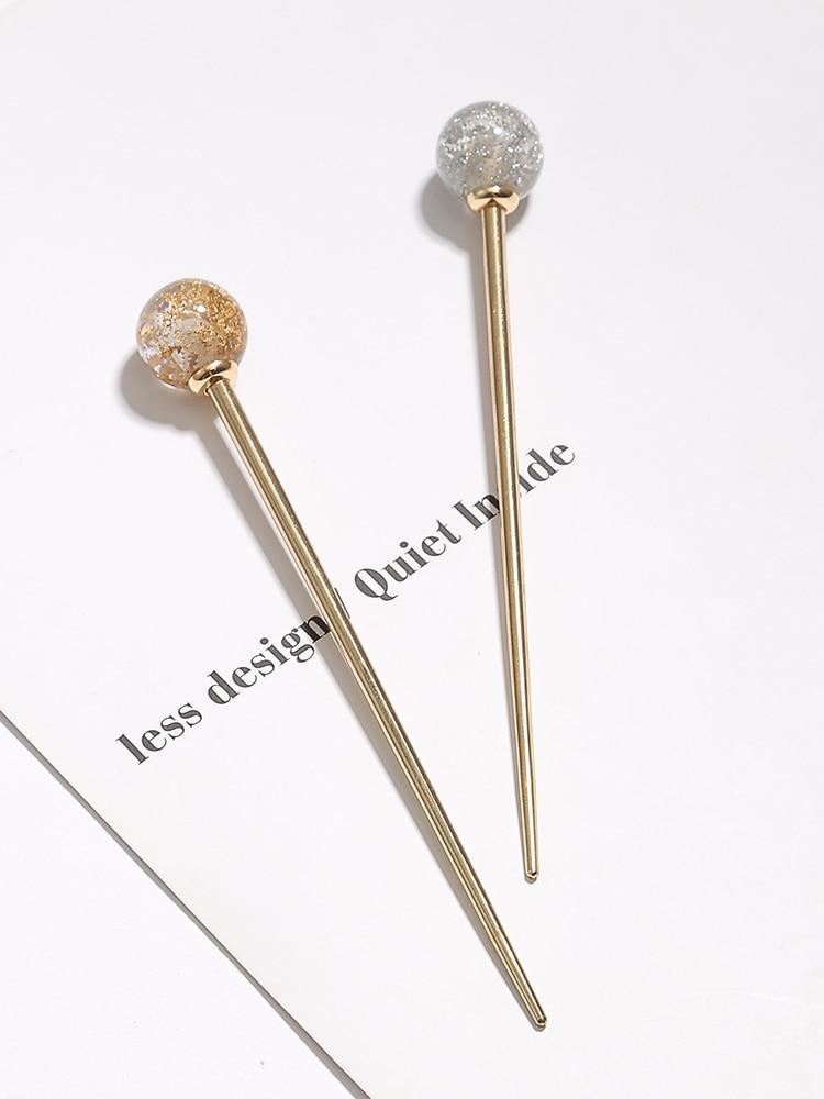Japanese Hot Sale Woman Lollipop Hair Stick Languid Lazy Temperament Gold Foil Hairpin Girls Elegant Dish Hair Ornaments